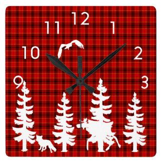 Lumberjack red plaid white wildlife silhouhettes square wall clock