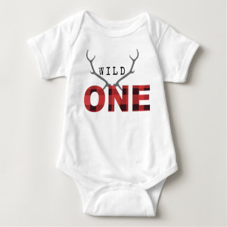 Lumberjack Rustic Wild One | First Birthday Baby Bodysuit