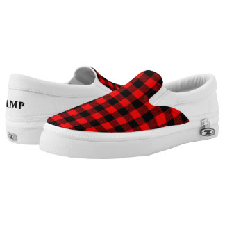 Lumberjack Style - red fabric + your ideas Slip-On Shoes