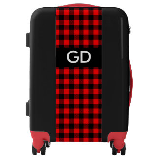 Lumberjack Style - red fabric + your monogram Luggage