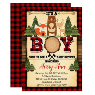 Lumberjack Woodland Baby Shower Invitation Invite