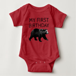 Lumberjack Woodland Bear First Birthday Shirts