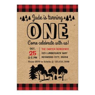 Lumberjack Woodland Boy First Birthday invitation