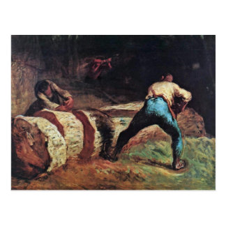 Lumberjacks Sawing Wood By Millet  (Best Quality) Postcard
