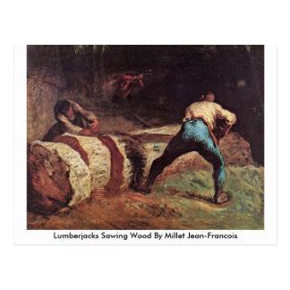 Lumberjacks Sawing Wood By Millet Jean-Francois Postcard