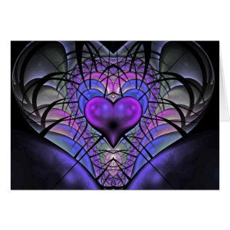 Luminescent Heart Fractal Greetings Cards