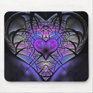 Luminescent Heart Fractal Mousepads