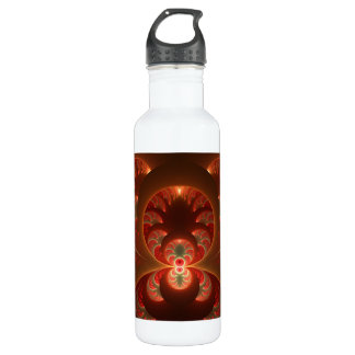 Luminous abstract modern orange red Fractal 710 Ml Water Bottle