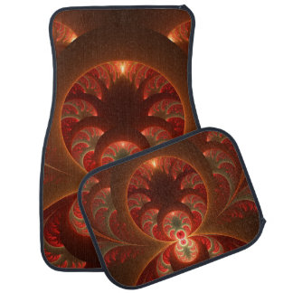 Luminous abstract modern orange red Fractal Car Mat