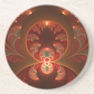 Luminous abstract modern orange red Fractal Coaster