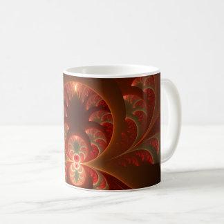 Luminous abstract modern orange red Fractal Coffee Mug