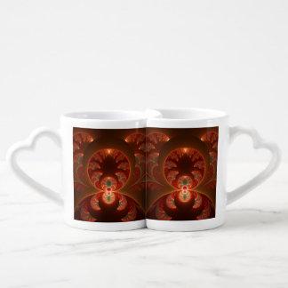 Luminous abstract modern orange red Fractal Coffee Mug Set