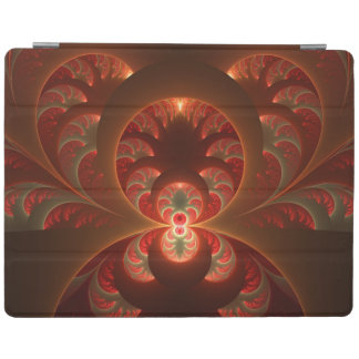 Luminous abstract modern orange red Fractal iPad Cover