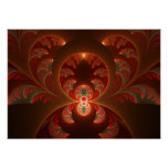 Luminous abstract modern orange red Fractal Poster