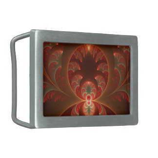Luminous abstract modern orange red Fractal Rectangular Belt Buckle
