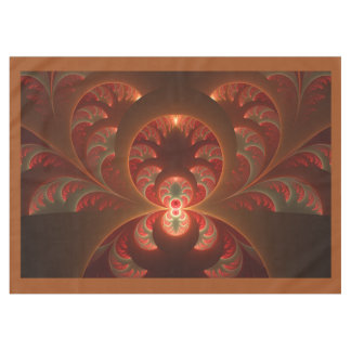 Luminous abstract modern orange red Fractal Tablecloth
