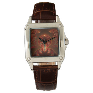 Luminous abstract modern orange red Fractal Watch