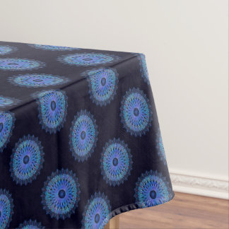 Luminous blue mosaic kaleidoscope tablecloth