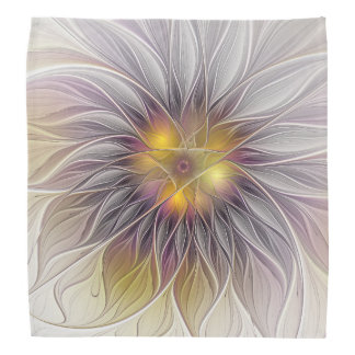 Luminous Colorful Flower, Abstract Modern Fractal Bandana
