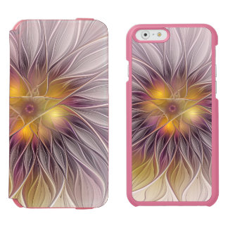 Luminous Colorful Flower, Abstract Modern Fractal Incipio Watson™ iPhone 6 Wallet Case