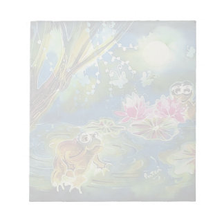 Luminous Frogs Silk Art Painting Notepad