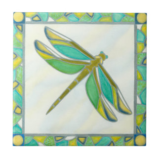 Luminous Pastel Dragonfly by Vanna Lam Ceramic Tile