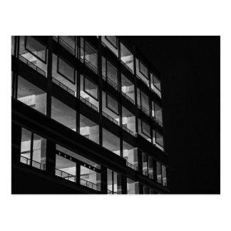 luminous storey building landscape postcard
