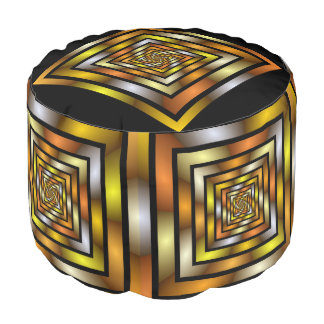 Luminous Tunnel Colorful Graphic Fractal Pattern Pouf