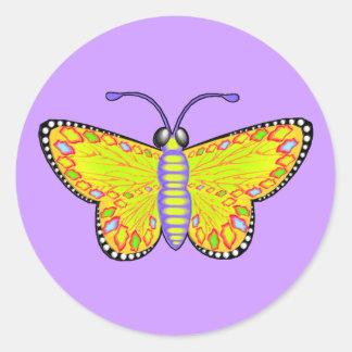 Luminous Yellow Butterfly Classic Round Sticker