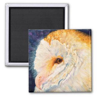 Luna - Barn Owl Square Magnet