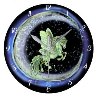 Luna Moonduster Moth Fairy Horse Large Clock