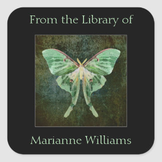 Luna Moth Book Name Plate Sticker