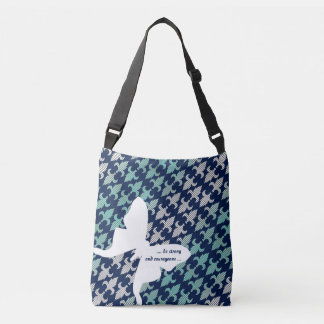 Luna Moth Buffalo Plaid Damask Mint Midnight Blue Crossbody Bag