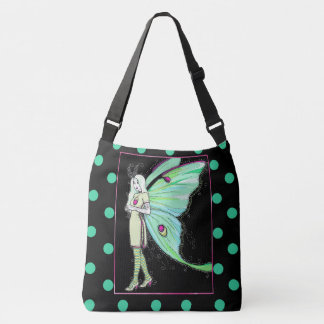 Luna moth fairy polka dot cross body bag