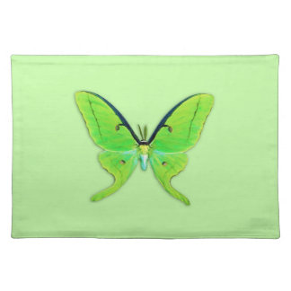 Luna moth on a pale green background place mats