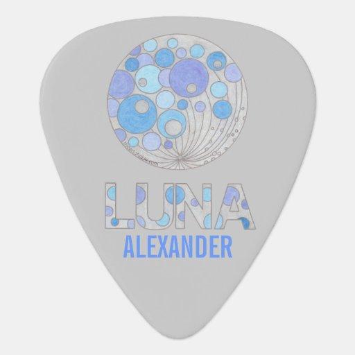 Luna The Full Moon Blue And Purple Musician Custom Guitar Pick