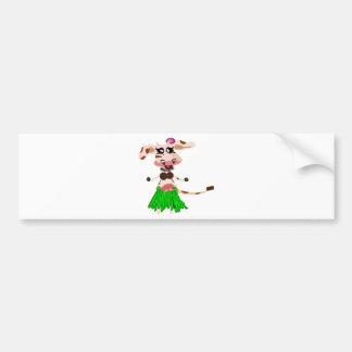 Luna, the hula-hula moo-cow. bumper sticker