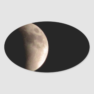 Lunar Eclipse with Craters Oval Sticker