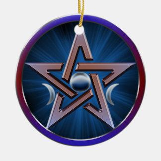 Lunar Goddess Pentagram Ceramic Ornament
