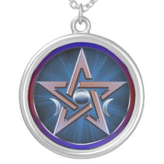 Lunar Goddess Pentagram Silver Plated Necklace