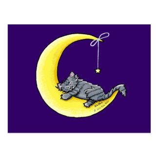 Lunar Love Gray Tabby Cat Postcard