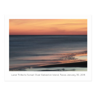 Lunar Trifecta Sunset Over Galveston Souvenir Postcard