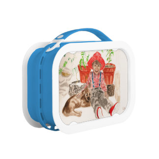 Lunch box with painture of a boy and his dog