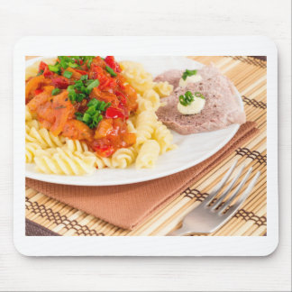 Lunch dish of Italian pasta, vegetable sauce Mouse Pad