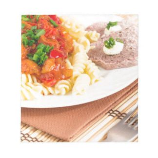 Lunch dish of Italian pasta, vegetable sauce Notepad