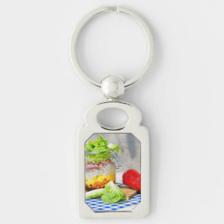 Lunch in a glass key ring