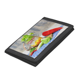 Lunch in a glass tri-fold wallet