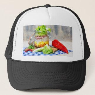 Lunch in a glass trucker hat