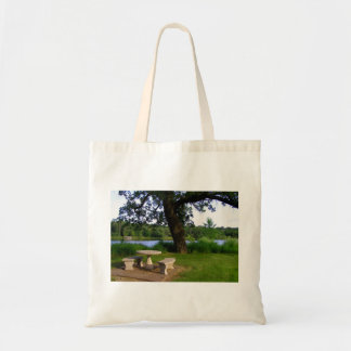 Lunch meeting picnic table summer day at the park budget tote bag