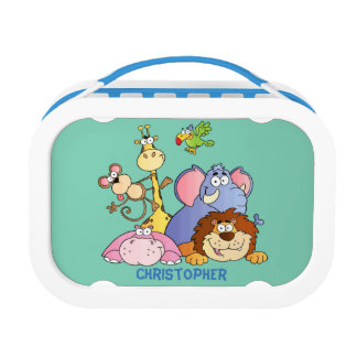 Lunchbox-Blue-Jungle Animals Lunch Box